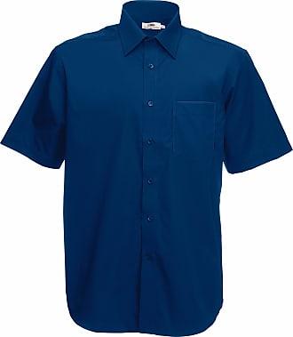 Fruit Of The Loom Mens Short Sleeve Poplin Shirt Navy XL