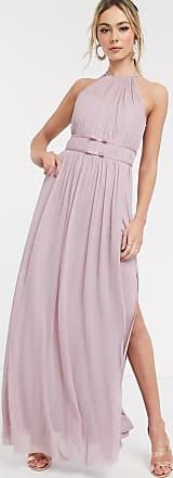 Lipsy Vestito lungo da cerimonia a ruota in rete allacciato al collo lavanda-Viola