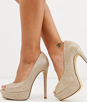 Truffle sparkly peep toe platform heeled shoes in light gold