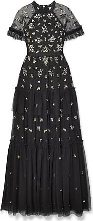 Needle & Thread Lustre Tiered Embellished Tulle Gown - Black