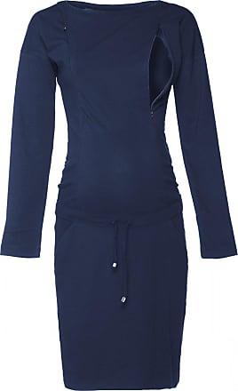 Happy Mama Womens Maternity Nursing Sweatshirt Dress Long Sleeve Pockets. 709p (Navy, UK 18, 2XL)