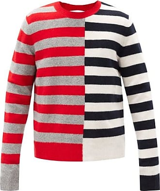 Helmut Lang Contrast-striped Wool-blend Sweater - Mens - Red Multi