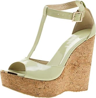 09762815e0d Jimmy Choo London Mint Green Patent Leather Pela Cork Wedge T Strap Sandals  Size 37.5