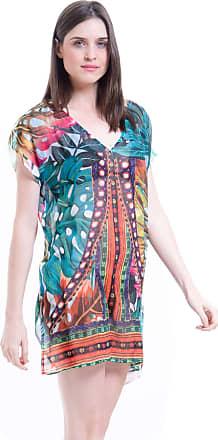 101 Resort Wear Saida de Praia Crepe Estampada Folhas Coloridas (G)