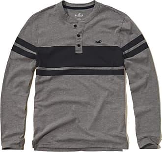 Hollister Mens Long Sleeve Top Navy & Grey Stripe (Large)