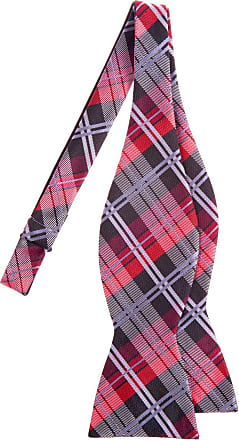 Retreez Elegant Tartan Plaid Check Woven Microfiber Self Tie Bow Tie - Black and Red