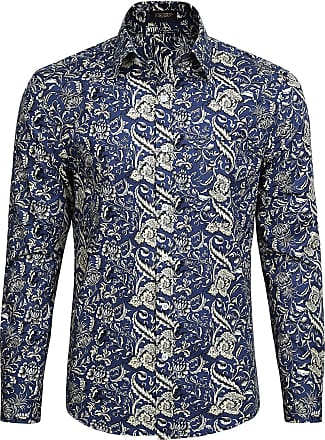 Hisdern Hisdern Mens Casual Funky Printed Shirt Fancy Paisley Floral Unique Pattern Cotton Regular Fit Shirts for Men, XL(Chest 50.4, Navy Blue