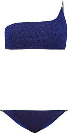 Oséree Lumière Metallic One-shoulder Bikini - Womens - Blue