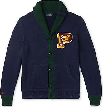 Polo Ralph Lauren Shawl-collar Logo-appliquéd Cotton Cardigan - Navy