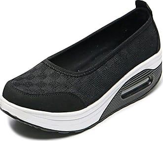OCHENTA Womens Slip on Shoes Walking Fitness Toning Wedge Trainers Black Tag 38-UK 5