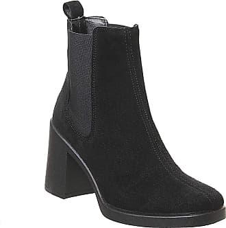 Office Asparagus-Block Heel Chelsea Boot Black Suede - 8 UK