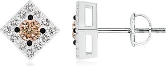 Angara Valentine Day Sale - Coffee and White Diamond Square Halo Stud Earrings