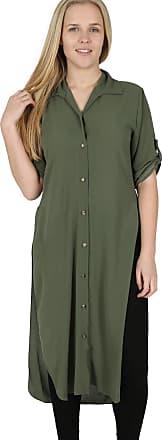 Parsa Fashions Womens Chiffon Crepe Buttons Collared Long Shirt Side Slit Roll Up Sleeves Kaftan Abaya Cocktail Vintage Maxi Dress Top (XX-Large, Khaki)