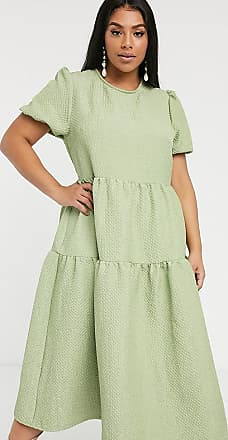 Glamorous Curve tiered maxi smock dress in quilted fabric-Green