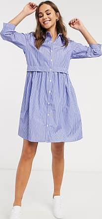 Jacqueline de Yong Kurzes Popeline-Hemdkleid in Blau gestreift-Mehrfarbig
