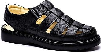 Doctor Shoes Antistaffa Sandália Masculina 321 em Couro Floater Preto Doctor Shoes-41