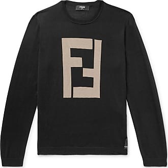 Fendi Logo-intarsia Cashmere And Silk-blend Sweater - Black