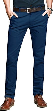 OCHENTA Mens Casual Slim-Tapered Flat-Front Trousers Sapphire Blue Lable 34