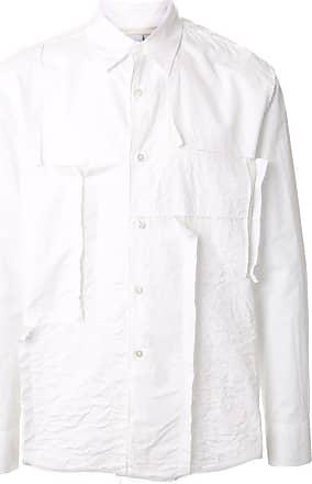 Fumito Ganryu Camisa com efeito de patchwork - Branco