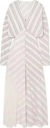 Victoria Beckham Paneled Striped Silk And Chiffon Dress - White