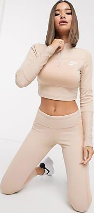 Nike Air - Geripptes, langärmliges, hochgeschlossenes Oberteil in Hellbeige