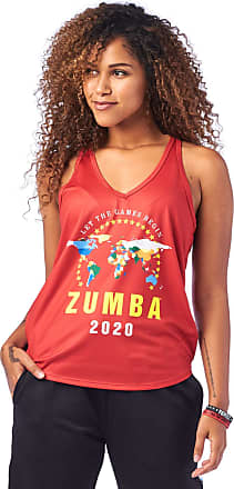 Zumba Loose Graphic Print Dance Fitness Tank Activewear Workout Tops for Women, Really Red-y, XXL