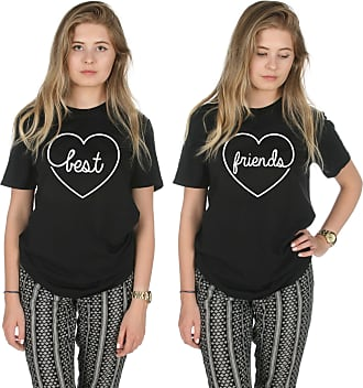 Sanfran Clothing Sanfran - Best Friends Top Funny Matching Besties BFF Heart T-Shirt - Extra Large & Extra Large/Black