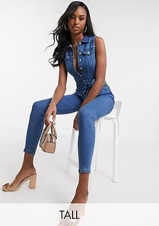 Parisian Tall Tuta jumpsuit di jeans allacciata in vita lavaggio blu medio