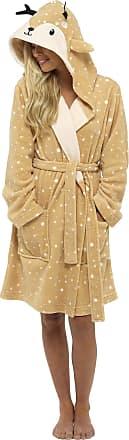 Foxbury Ladies Novelty Cuddle Fleece Animal Hood Gown, XL, Deer