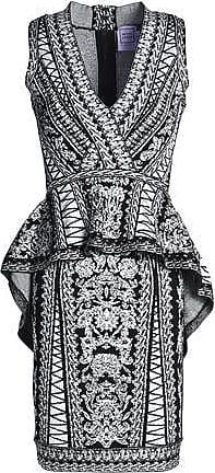 Hérve Léger Hervé Léger Woman Jacquard-knit Peplum Dress Black Size XS