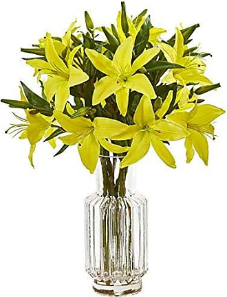 Nearly Natural 1868-YL Lily Artificial Glass Vase Silk Arrangements Yellow
