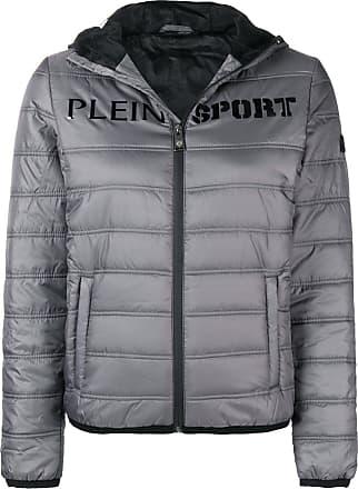 Plein Sport logo print padded jacket - Cinza