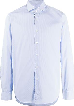 Xacus spread-collar pinstriped shirt - Blue