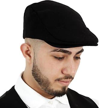 TOSKATOK Mens Plain Wool Blend Flat Cap Black