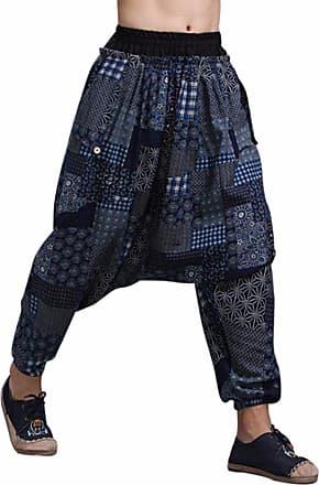 QIYUN.Z Mens Boho Harem Hakama Casual Baggy Linen Trousers Loose Patchwork Japanese Samurai Pants Blue