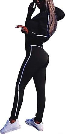 TOMWELL Minetom Women 2 Pieces Tracksuit Ladies Zipper Playsuits Sportswear Strip Hooded Zip up Sweatshirt Hoodies + Pants Trousers Black UK 18
