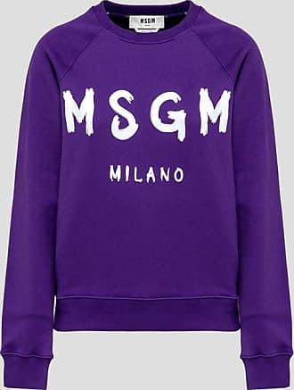 Msgm crew neck sweatshirt with paint brushed logo