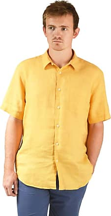 White Label M&S Collection Mens Pure Linen Shirt Short Sleeve Pocket Curved Hem was £29.50 Ochre Size XL