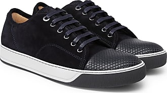 Lanvin Dbb1 Cap-toe Suede And Textured-leather Sneakers - Navy
