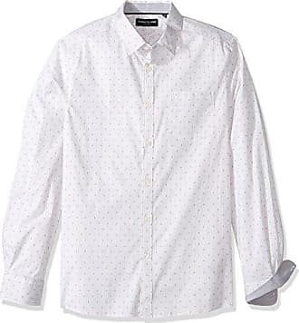 Kenneth Cole Mens Long Sleeve Dot Print Shirt, Ghost Grey Combo, Large