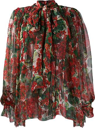 Dolce & Gabbana Blusa estampada com detalhe de laço - Vermelho