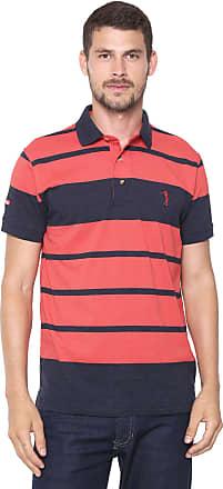 Aleatory Camisa Polo Aleatory Reta Listrada Vermelha/Azul-marinho