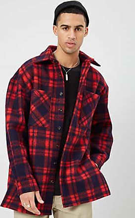 21 Men Brushed Plaid Button-Front Jacket at Forever 21 Red