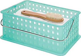 InterDesign InterDesign Spa Plastic Storage Organizer Basket with Handle for Bathroom, Health, Cosmetics, Hair Supplies and Beauty Products, 14 x 9 x 5, Blue
