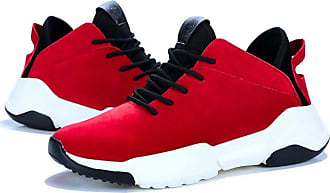 LanFengeu Men Casual Shoes Platform Anti Slip Round Toe Lace up Low Top Sneakers Outdoor Light Breathable Running Trainers Red