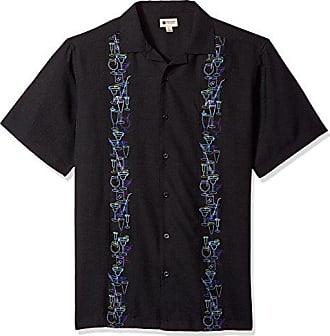Haggar Mens Short Sleeve Texture Printed Shirts, Black/Party, M
