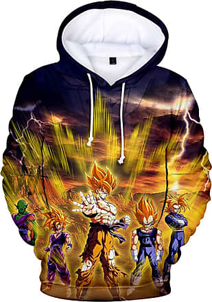 OLIPHEE FLYCHEN Mens Hoodies Inspired by Dragon Ball Son Goku Long Sleeve Pullover Sweatshirts Unisex Jumper Plus Size (2XL, Characters 1190)