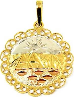 Prado Joias Pingente Em Ouro 18k Escrava Medalha 3 Cores