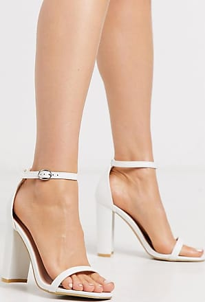 Glamorous block heeled sandal in white