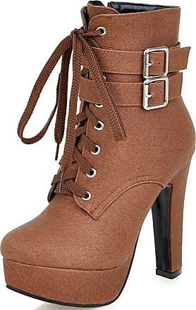 Vimisaoi Womens Lace-up Fashion Solid Color Round Toe High Heel Boots